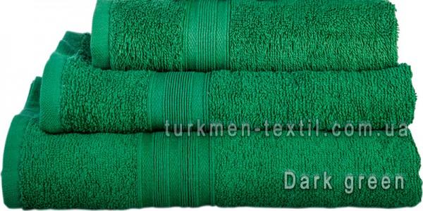Махровое полотенце 70х140 см темно-зеленого цвета 420 г/м2